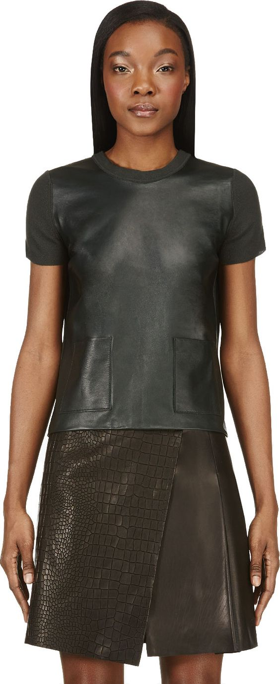 CALVIN KLEIN COLLECTION Deep Green Leather & Cashmere Michelle T-Shirt. #calvinkleincollection #cloth #t-shirt