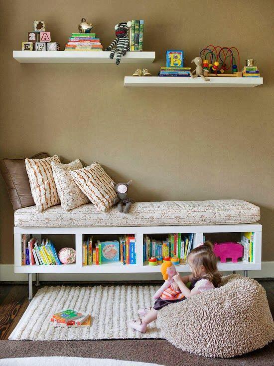 Turn a regular shelf sideways and add cushion! ~ we ❤ this