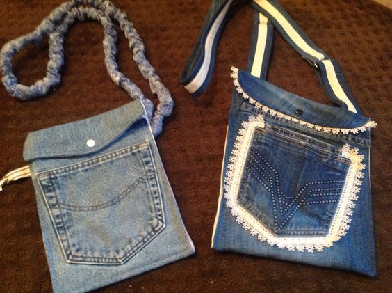 Jean bags cross over body for hands free shopping.