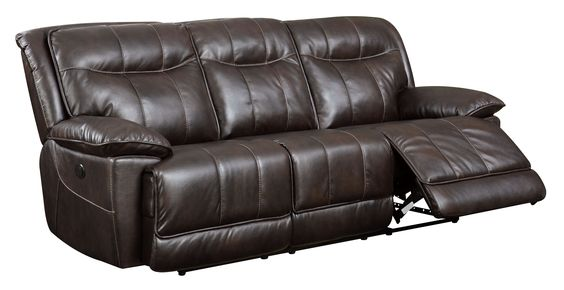 Furniture of America Fulton Brown Faux Leather Power-Assist Reclining Sofa