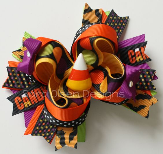 Halloween Hairbow Over the Top Bow Candy corn