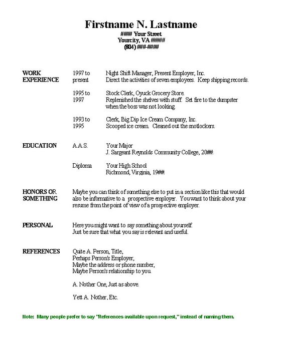 Resume, Chronological resume template and Free resume on Pinterest