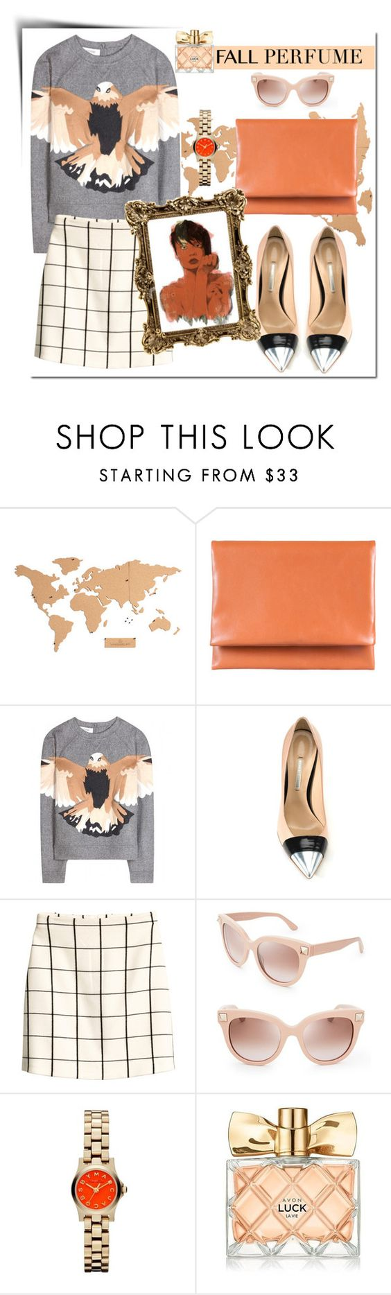 """With Luck"" by vladoslav ❤ liked on Polyvore featuring Otaat, Valentino, Nicholas Kirkwood, H&M, Marc by Marc Jacobs, Avon, Supersonic, Fall, beige and checks"
