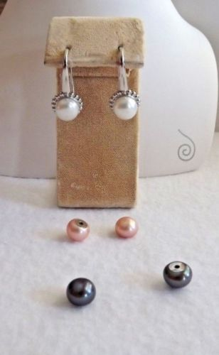 HONORA-8-5-INTERCHANGEABLE-MAGNETIC-BUTTON-EARRINGS-NEW-ROSE-WHITE-BLACK-SS