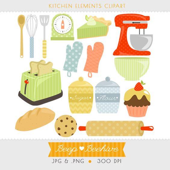 Kitchen Clipart // Cupcake Clipart // Kitchen Utensils Clipart ...