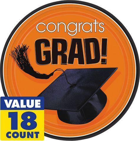 Congrats Grad Orange Graduation Lunch Plates 18ct - Party City