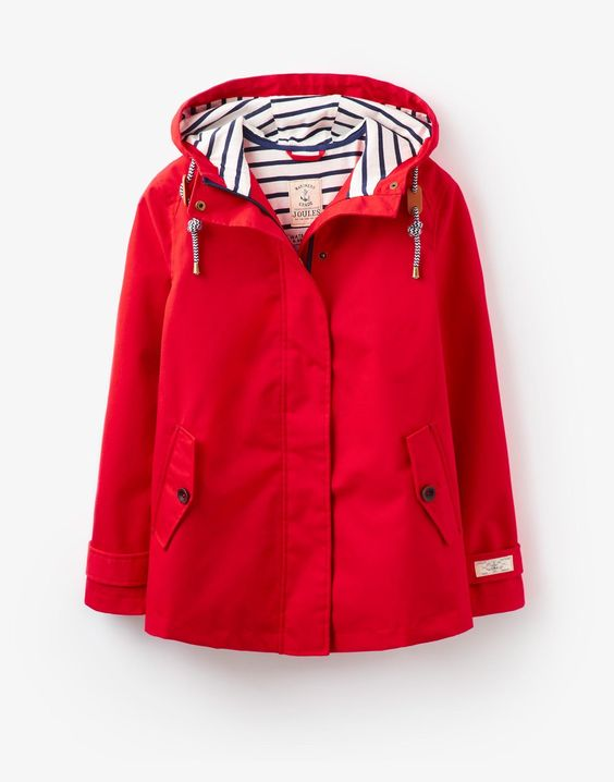 Joules Coast Red Waterproof Jacket with striped lining