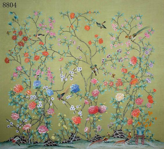Cheap papel pintado pintado a mano seda wih de papel de - Papel pintado a mano ...