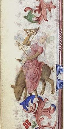 a woman spinning (fol. 108v) in the borders of a book of hours (MMW 10 F 50), c. 1460: