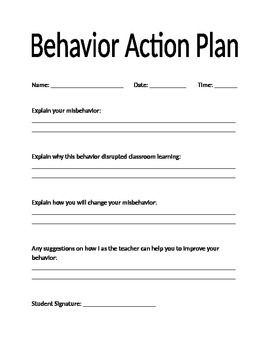 These editable pages can be tied to any type of classroom for Behavior change plan template