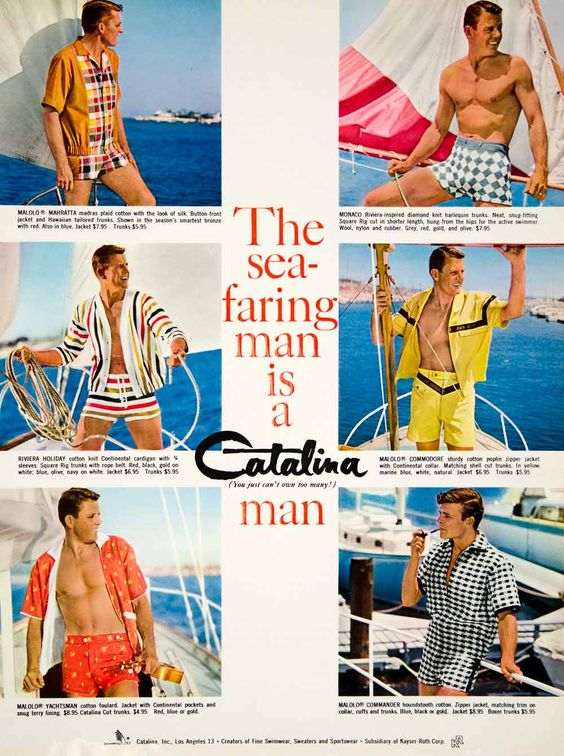 1960 Ad Vintage Catalina Swim Trunks Suit Swimsuit Mad Men Fashion Style Sailing: