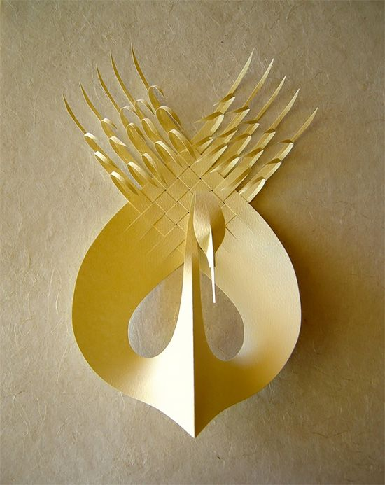 Bird sculpture by Bijian Fan who creates sculptures out of paper or polymer.: