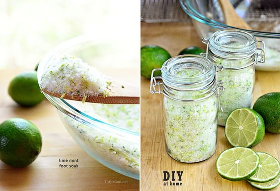 DIY Lime Mint Foot Soak | Mother's Day is May 12th this year, this simple to make Lime & Mint Foot Soak packaged up in a cute jar with a label you can download and print for free would make a great gift for any Mom.  Great idea for Teacher Appreciation Gift too! | From: tidymom.net