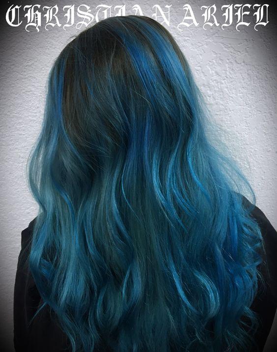 Dark Bayalage Pravana Blue  hair inspiration