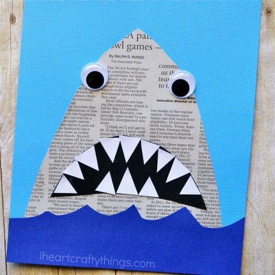 Mit Kindern basteln - Haifisch mit Zähnen ganz einfach aus einer Zeitung *** DIY Newspaper Shark Craft