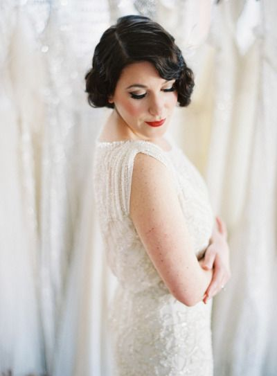 An elegant updo paired with the perfect gown! Created by Dove® Hair celebrity stylist Mark Townsend for Libby's vintage glamour look! Photography by Anne Robert Photography / annerobertphotography.com, Hair Styling by Mark Townsend / http://www.starworksartists.com/hair/mark-townsend/bio,  Location by Gabriella New York Bridal Salon / gabriellanewyork.com.