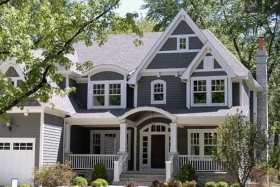 The Exterior Of Our Modern Craftsman Home Gray House Exterior Exterior Paint Colors For House Outside House Colors