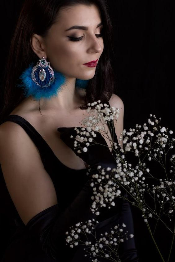 Soutache Shibori tape Earrings Jewelry Marabou Crystal