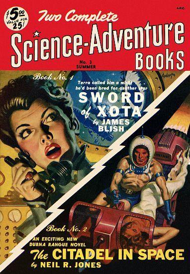 Vintage Sci Fi Poster Science Adventure Books