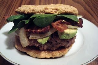 Cranberry-Herb Bacon Avocado Burger with a Grain free, gluten free, low carb Hamburger Bun by the Liberated Baker