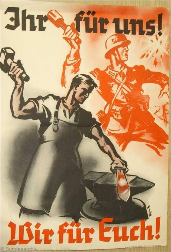 German propaganda poster exalting the unity between the troops at the front and the civilian work force back home building the armaments necessary for the pursuit of the war.