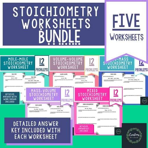Stoichiometry Worksheet Bundle Detailed Answer Key Distance Learning Distance Learning Answer Keys Chemistry Worksheets