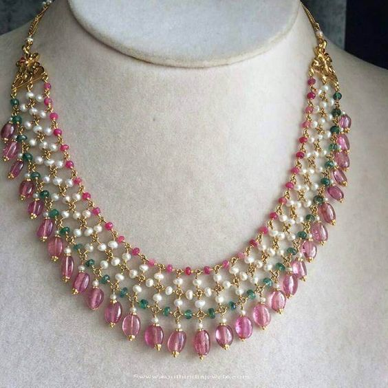 Fancy Gold Beaded Necklace From Anagha Jewellery