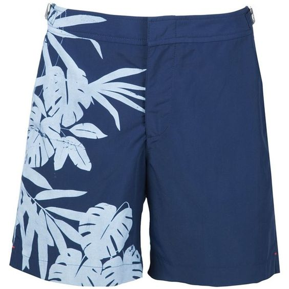 Orlebar Brown Tropical Print Swim Shorts ($275) ❤ liked on Polyvore featuring men's fashion, men's clothing, men's swimwear and blue