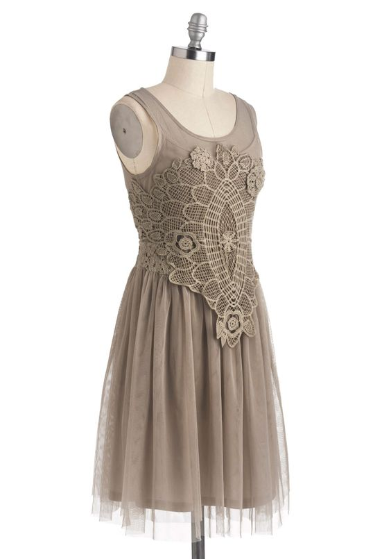 Bohemian Belle Dress in Taupe | Mod Retro Vintage Dresses | ModCloth.com