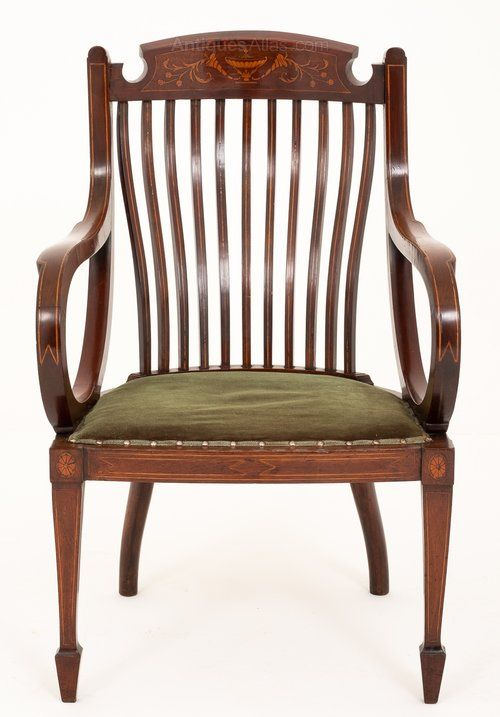 Sheraton Revival Mahogany Inlaid Elbow Chair Chair Chair Style