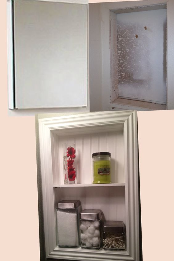 Replacing mirrored medicine cabinet for  an inset wainscoting framed shelf. Great job, Honey!!