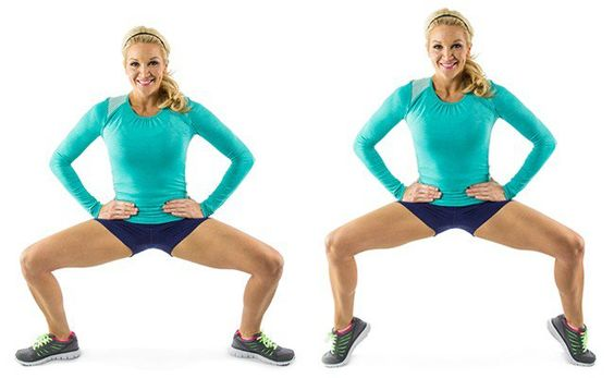 4. 20 Tip Toe Plié Squats: Stand with your feet slightly wider than your hips, then raise up onto your toes and squat down until your thighs are parallel to the floor. You'll feel this in your quads and hamstrings!: