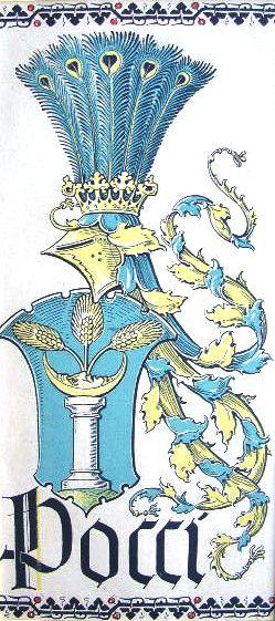 """Wappen des Geschlechts """"von Pocci"""" (Bayerische Linie) -- (Woodcut) Holzschnitt in 4 Farben von Otto Hupp; 27 x 13,5 cm; (aus dem """"Mchn. Kalender"""" von 1920)"""