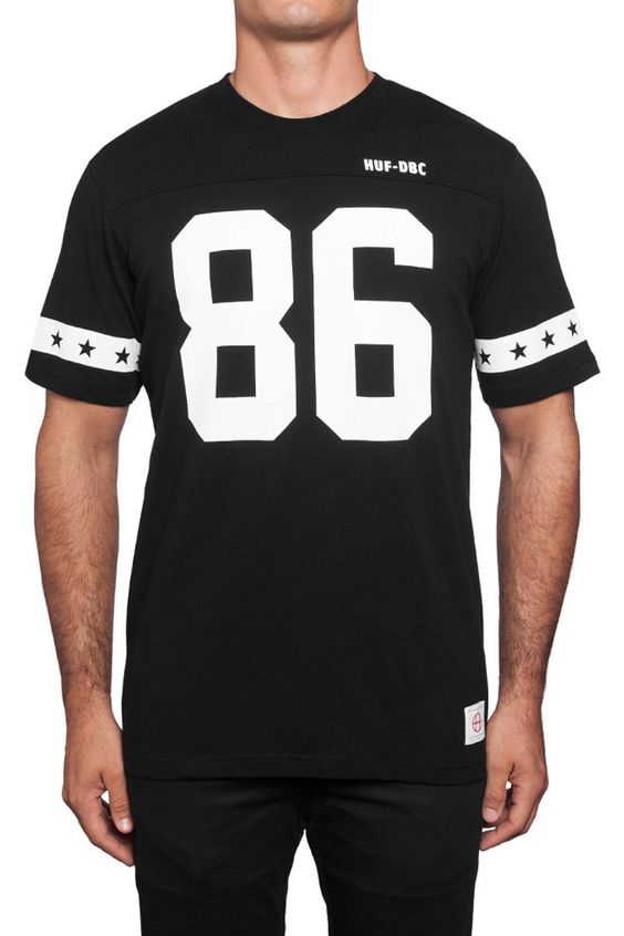 The 5 Star Football Jersey from HUF is a heavy weight cotton jersey featuring screen printed logos at front and back.