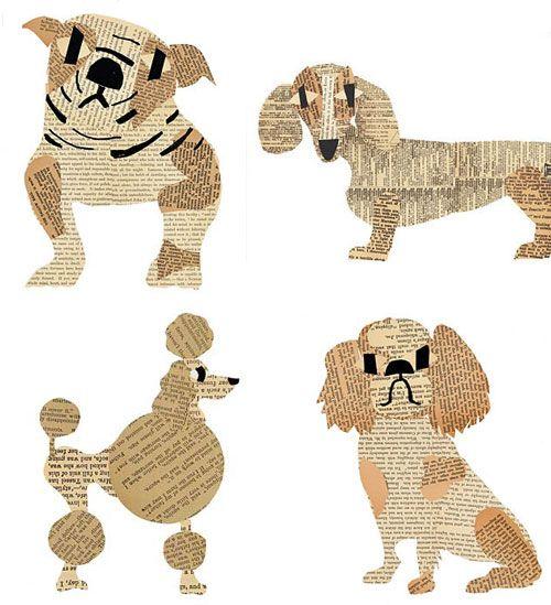 Collage avec du papier journal d coupage chiens papier - Bricolage en papier journal ...