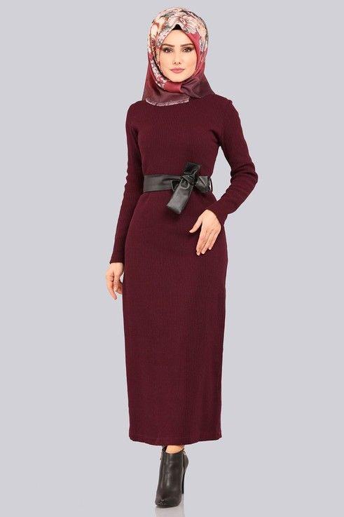 Elbise Deri Detay Triko Elbise Akt3100 Bordo Elbise The Dress Elbise Tarzlari