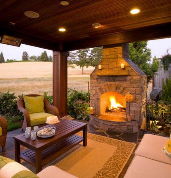 Backyard Gazebo With Fireplace Fire Pits Fireplaces And