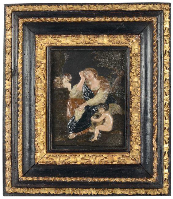 Giovanni Francesco Pieri (Prato 1699-Napoli 1773) La Maddalena Penitente Rilievo in cere policrome su lavagna.