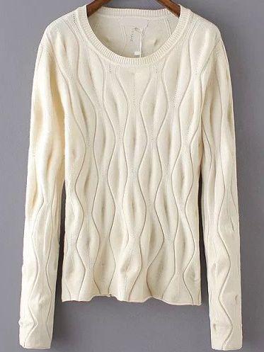 Long Sleeve Eyelet Apricot Sweater