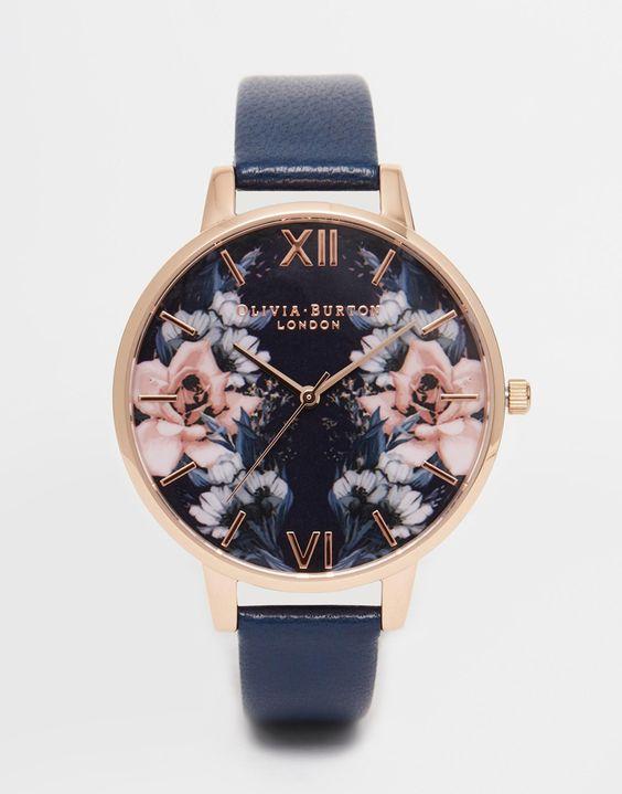 Olivia Burton – Uhr mit großem, geblümtem Zifferblatt