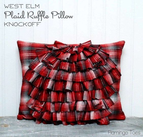Ruffled Plaid Pillow (West Elm Knockoff) via @Bev {Flamingo Toes}