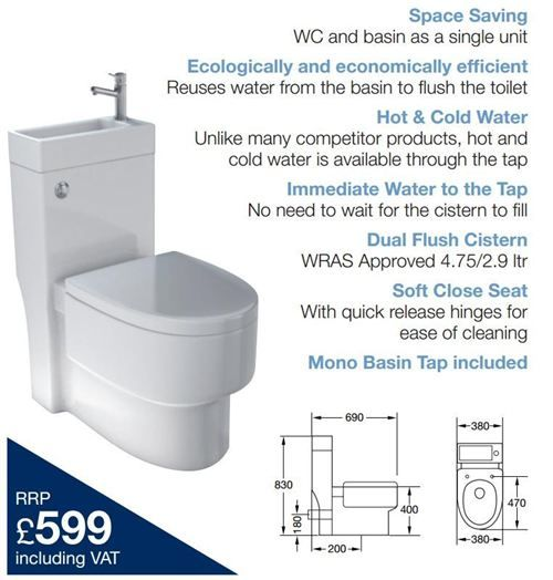 Space Saving 2 In 1 Eco Toilet And Basin All House