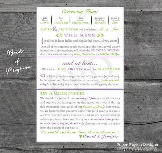 Fun Wedding Programs Wedding Program by PaperPigeonDesigns on Etsy