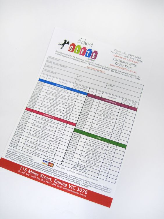 School Gifts Christmas Order Forms Flyers Pinterest - product order form