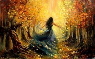 Woman Autumn Forest Sunlight wallpapers