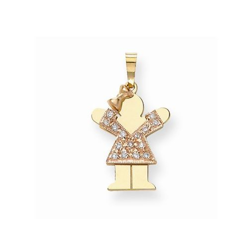 14K Gold Two-tone LOVE Girl with Diamonds #mothersday #mom #girl #diamonds #charm