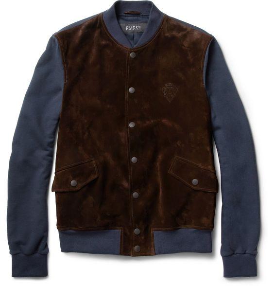 GucciSuede-Front Jersey Varsity Jacket|MR PORTER