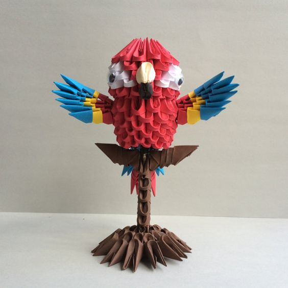 Etsy の 3 D 折り紙宙コンゴウインコ by OlygamiCrafts