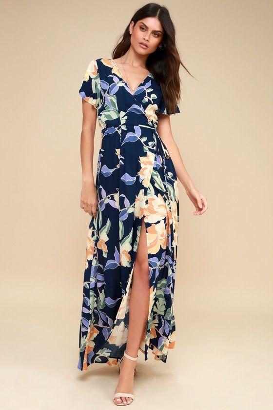 Blue Tropical Print Maxi Dress