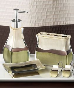 Sage brown reflections bathroom sink accessory set ebay for Sage bathroom accessories